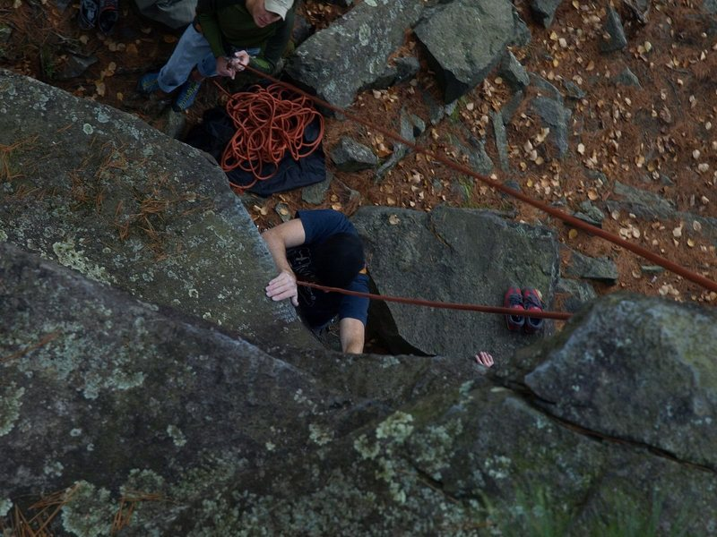 Rock Climbing Photo: Pulling the roof on Mantrap. Roof edge is a major ...