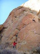 Rock Climbing Photo: Shirley leading Toy Blocks.