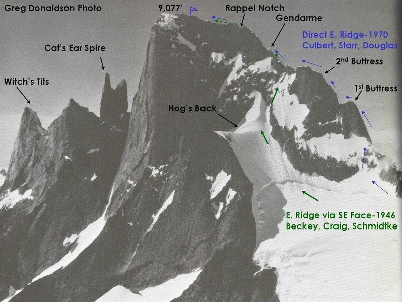 Rock Climbing Photo: The East Ridge (via SE Face) follows the green arr...