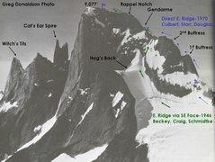 Rock Climbing Photo: The East Ridge (via SE Face) follows the green arr...