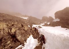 Rock Climbing Photo: Ascending steep snow flutes on the SE face, headin...