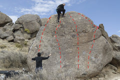 Rock Climbing Photo: The South-facing slab problems: - Left-most line c...