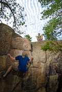 Rock Climbing Photo: Jake working on a V4 on the far right of the Energ...
