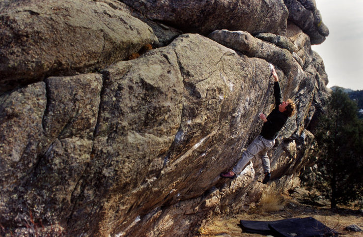 Jon Wilson bouldering on &quot;Chubby Bunny&quot; V7.<br> Freight Train Wall, Gross Reservoir.