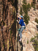 Rock Climbing Photo: Joe in the upper finger crack on the Edge of Frigh...