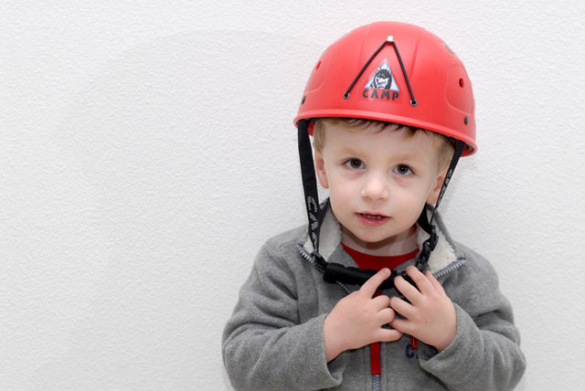 Rock Climbing Photo: Bryson's first climbing helmet (February 2009, 2 y...
