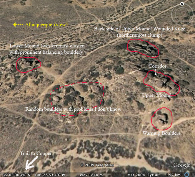 Rock Climbing Photo: Overview of boulder clusters. See separate section...