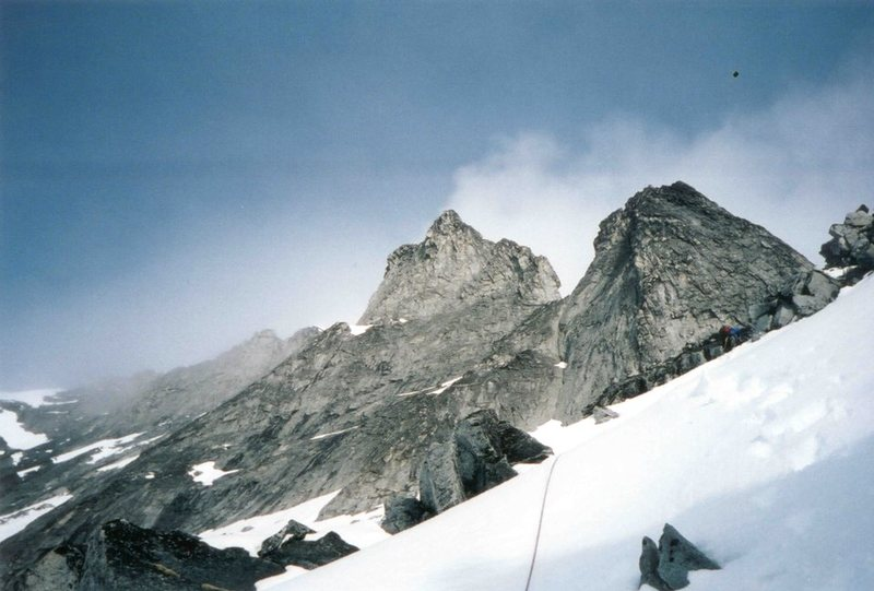 Rock Climbing Photo: Climbing moderate snow slopes up towards the first...