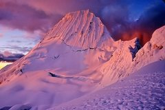 Rock Climbing Photo: Alpamayo at sunset from col camp.