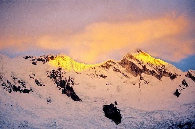 Rock Climbing Photo: Millishraju at sunset from Moraine camp, Alpamayo.