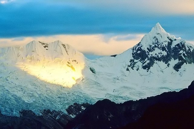 Nevado Paron at sunset from Moraine Camp, Alpamayo.