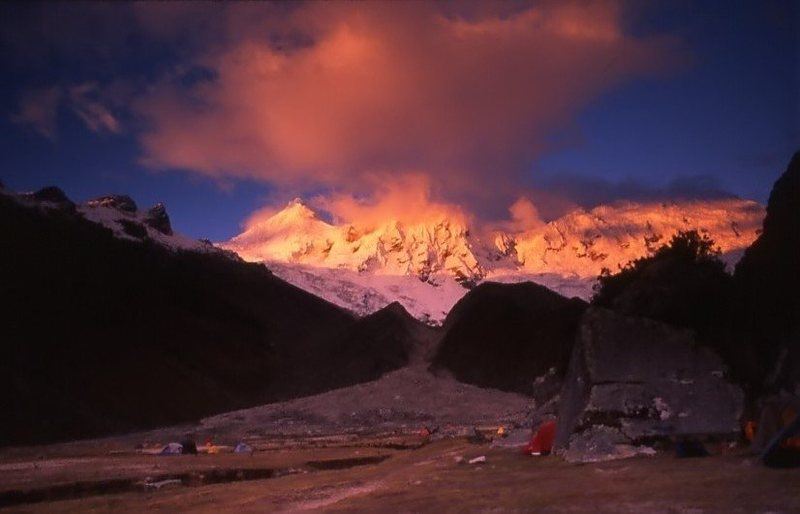 Rock Climbing Photo: Sunset on Tocllaraju from Ishinca base camp area.