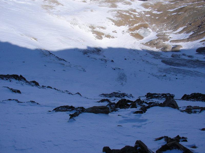 Rock Climbing Photo: My ski line down Box Creek Cirque Mt. Elbert