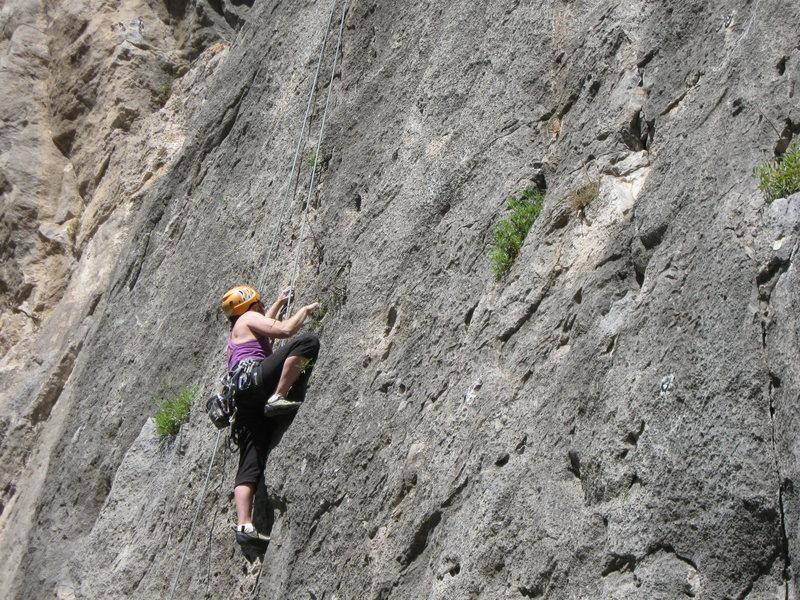 Rock Climbing Photo: Gail Blauer seconding Pins and Needles