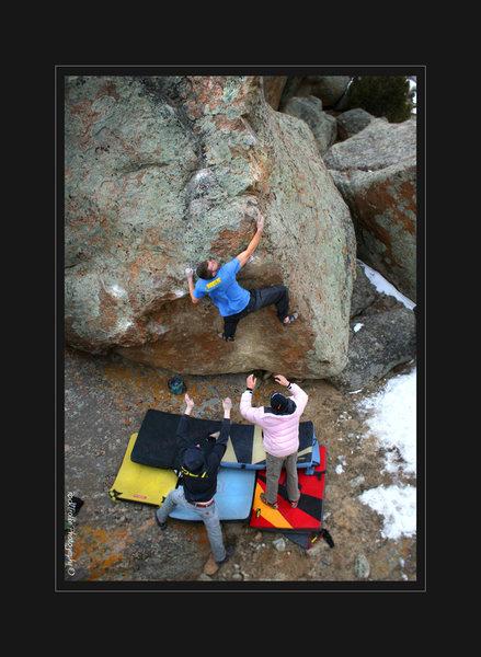 Jesse Brown pushin through the sharp V6 boulder problem- Black Pearl/Wave of Mutilation.