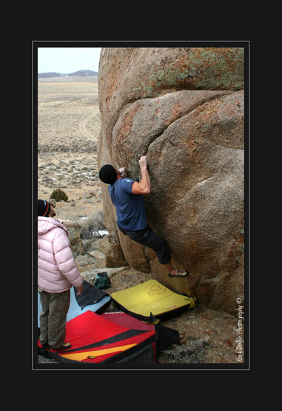 Micha Rush making his final attempt on a slab problem, I forgot the name.