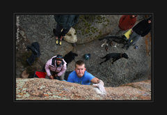 Rock Climbing Photo: JB catching a slopper through large overhanging bo...