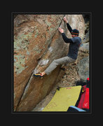 Rock Climbing Photo: Colby F. marching his fingers into a shallow seam ...