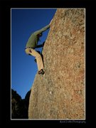 Rock Climbing Photo: Learning curve- V2 Pedro Mtns, at base of Dome Roc...