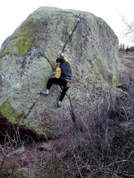 BH on FA of The Kid, Kid Boulders, South Mesa Trailhead Area.