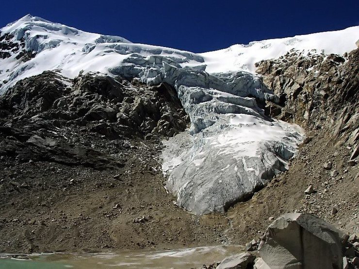 Ishinca with receding glacier.