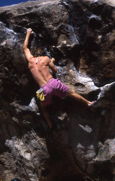 Rock Climbing Photo: John Groth really pulling down at Hueco Tanks