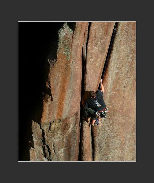 Rock Climbing Photo: making his way through the crux on a gear clean......