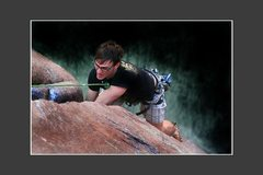 Rock Climbing Photo: Rusty making way by toprope.