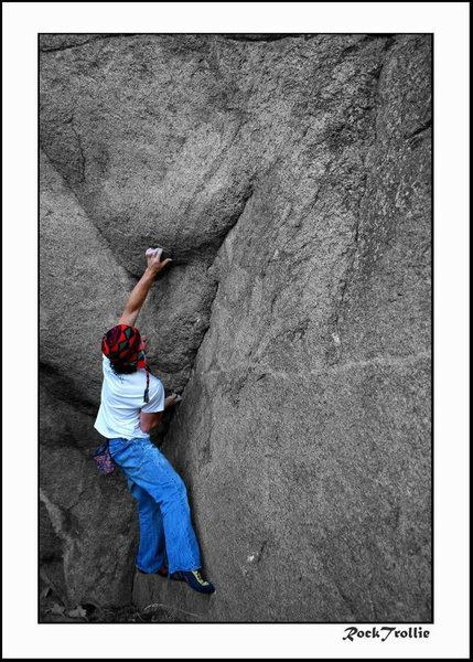 Danny Baker.<br> <br> Very close now, just need one good day. around V10/11. Super clean problem for the area it is in.