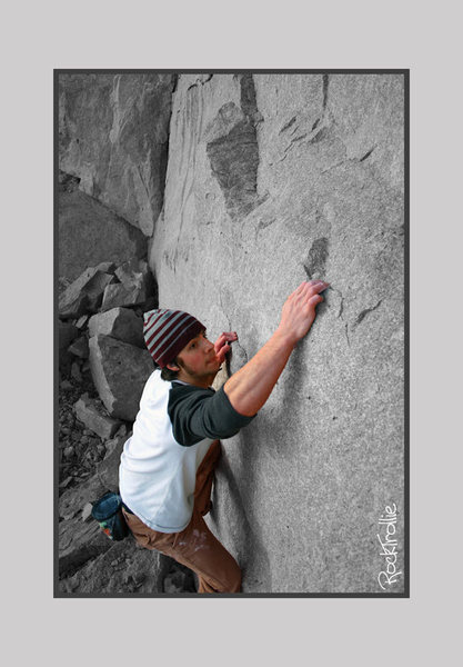 Old Photo of my first attempt... it ended with a fall into several large boulders below.