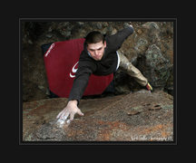 Rock Climbing Photo: Zac Rudy dyno problem. Though small it is a beggin...