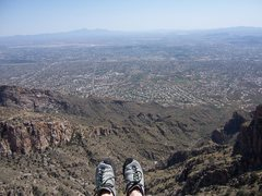 Rock Climbing Photo: Atop Finger Rock, overlooking Tucson.  Apr 2008.