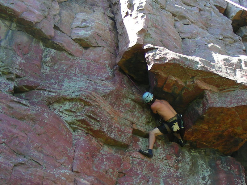 me getting spanked by the roofs on Z... first time climbing.