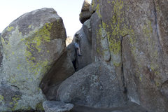 Rock Climbing Photo: ...and more slopers. The topout consists of a scru...