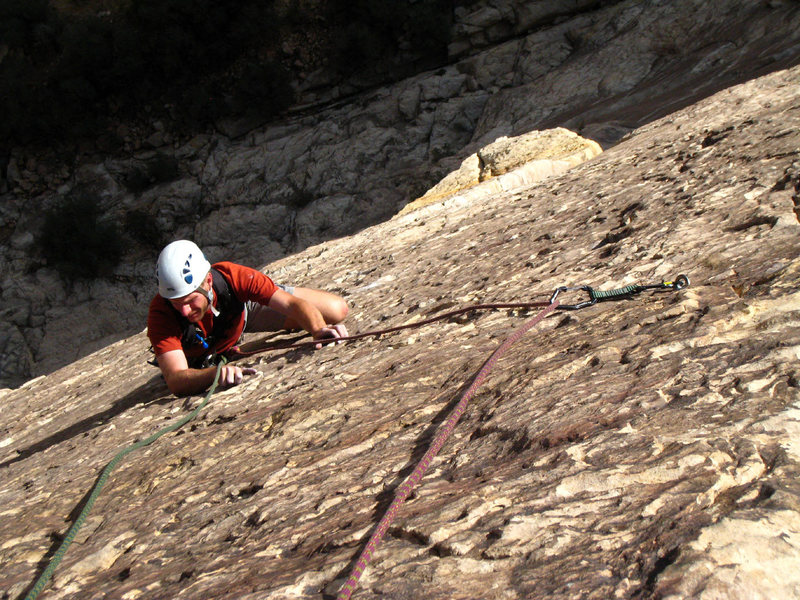 Rock Climbing Photo: Great climbing on steep terrain on the third pitch...