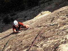 Rock Climbing Photo: Great climbing on steep terrain on the third pitch...