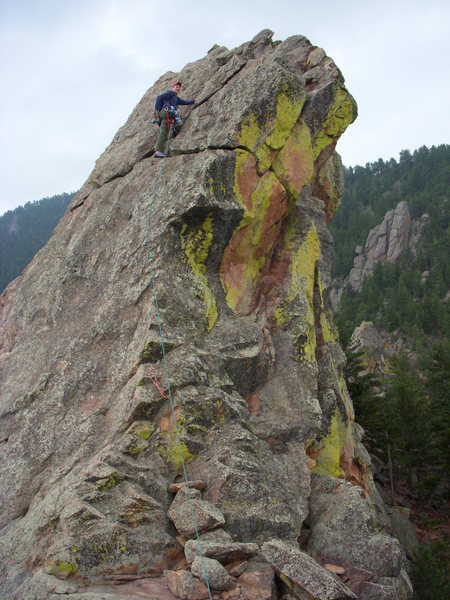 Mike on False Summit of 1st Flatiron Direct East Route.