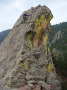 Rock Climbing Photo: Mike on False Summit of 1st Flatiron Direct East R...