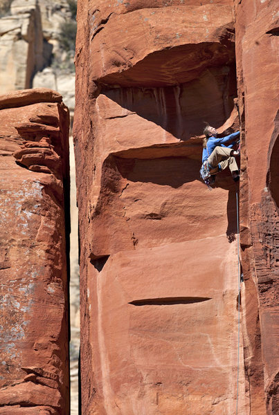 Rock Climbing Photo: Passing the first roof of Turkish Delight, 5.11b, ...