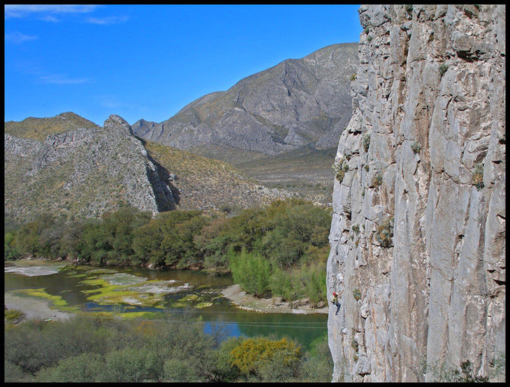 Rock Climbing Photo: Manny leading an unknown 5.10a at Presa Francisco ...