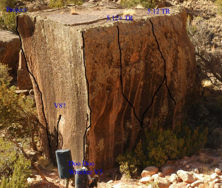 Rock Climbing Photo: Topo of the Cube boulder.