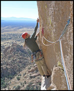 Rock Climbing Photo: Starting the crux of Stampede! in Cochise Strongho...