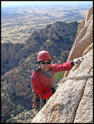Rock Climbing Photo: Manny topping out on Stampede! (5.11a) in Cochise ...