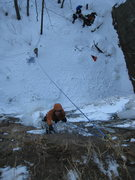 Rock Climbing Photo: Masuo Gates eyes the next move on the crux section...