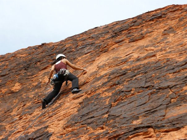 Rock Climbing Photo: leading on Technicolor Sunrise, Magic Bus, Feb 200...