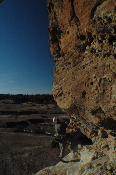 Rock Climbing Photo: Tim contemplating 10 feet of sand to get to the cl...