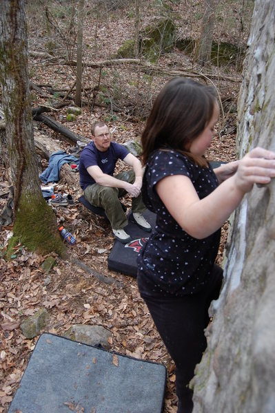 Rock Climbing Photo: Kianna at the right pinch and getting set for the ...