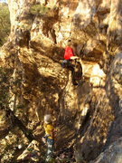 Rock Climbing Photo: Starting up the hard bouldery start.