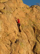 Rock Climbing Photo: Pull through the top crux just before the anchors.