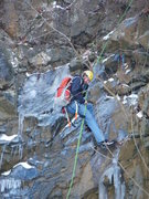 Rock Climbing Photo: Rappeling after a failed attempt to top rope an ic...